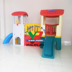 Nhà chơi cầu trượt 2 khối
