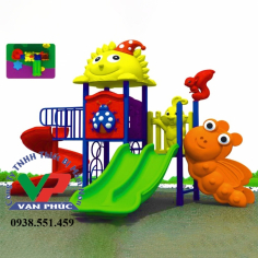 Cầu trượt liên hoàn mái khủng long và thang leo Bee